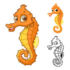 High Quality Sea Horse Cartoon Character Include Flat Design and Line Art Version