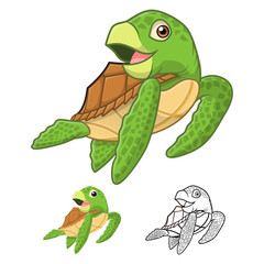 High Quality Sea Turtle Cartoon Character Include Flat Design and Line Art Version