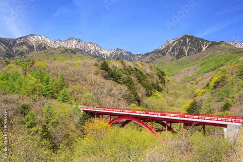 Fresh Green Of Yatsugatake And Red Bridge Yamanashi