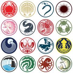 魚貝類のアイコン・マーク・紋章・家紋