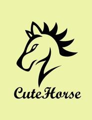 Cute Horse Logo, art vector design