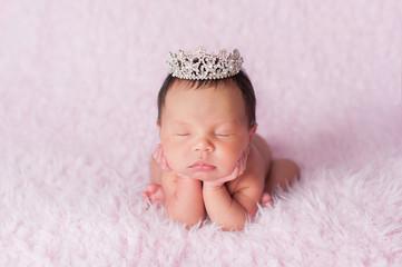 Newborn Baby Girl Wearing a Rhinestone Princess Crown