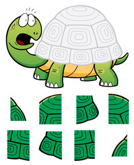 Vector Illustration of Education Jigsaw Puzzle Game for Children with Turtle
