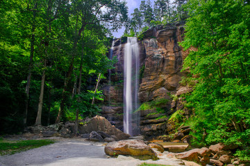 Beautiful high waterfall in the summertime long exposure
