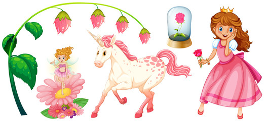 Fairytales set with princess and unicorn