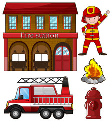 Fireman and fire station