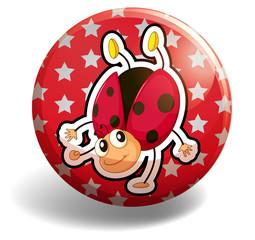 Ladybug on red badge