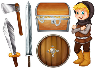 Knight with weapons and treasure