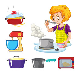 Woman cooking and other equipment