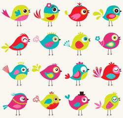seamless cute cartoon birds pattern
