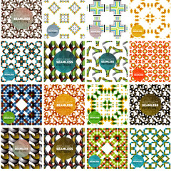 Set of abstract seamless textures. Geometric shapes