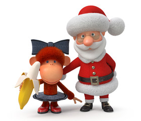 3d Santa Claus with the monkey