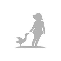 Kid Feeding Duck Silhouettes