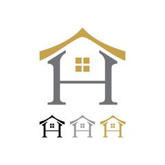 Letter H Oriental House Shape Icon