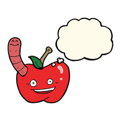 cartoon apple with worm with thought bubble