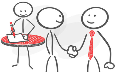 stickman contract handshake deal red