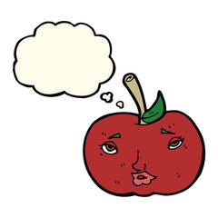 cartoon apple with face with thought bubble