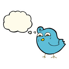 cartoon funny bird with thought bubble