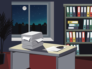 Vacancy. Looking for a new employee. Empty office with a documents, work desks and filing cabinets. Night theme with moon and stars. Vector simple illustration.