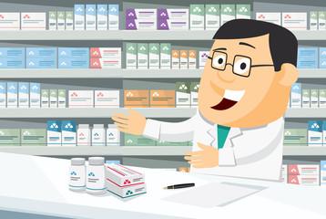 Pharmacist chemist man in pharmacy. Sale of vitamins and medications. Funny cartoon vector simple illustration.