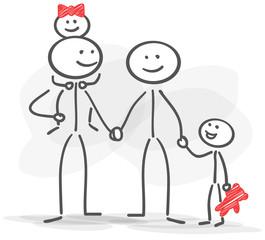 stickman family happy red