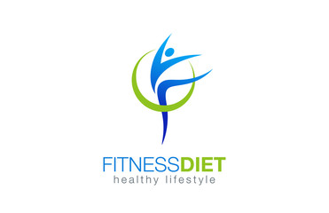 Fitness Diet Healthy Lifestyle Logo design vector. Gymnastics icon