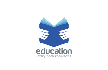 Book in Hands Education Logo design vector. Library