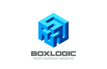 Logic Puzzle Labyrinth Box Logo Abstract design vector icon