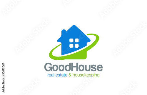 Real Estate Cleaning Services : Quot house logo real estate and housekeeping service vector