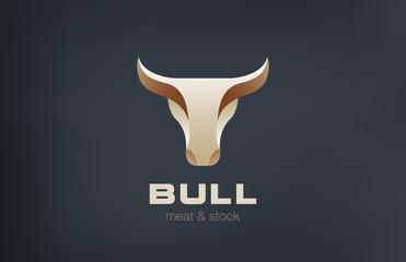 Bull Head Logo design vector icon. Stylish Taurus logotype