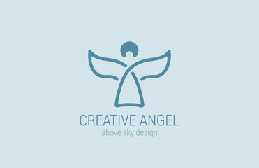 Angel Logo design vector. Church Logotype concept icon.