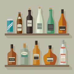 Flat icons alcoholic beverages