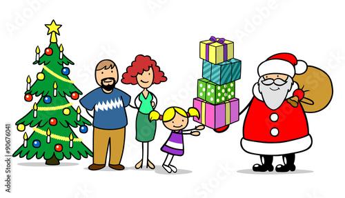 familie feiert bescherung zu weihnachten stockfotos und. Black Bedroom Furniture Sets. Home Design Ideas