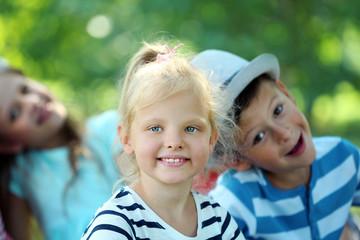 Happy active children outdoors