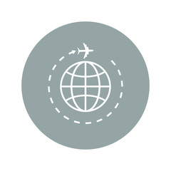 Globe and plane travel icon.
