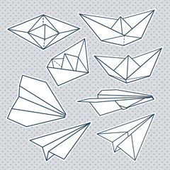Vector set: paper planes and paper ships