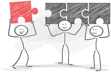stickman teamwork puzzle solution red