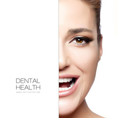 Dental Care. Beautiful woman half face with a healthy smile