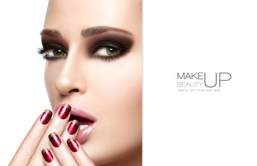 Beauty and Makeup concept. Autumn Winter Fashion Make-up