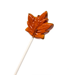 Delicious Maple Syrup Lollipop, on a white background