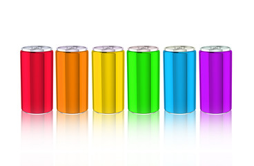Set of colored alluminium cans on white background