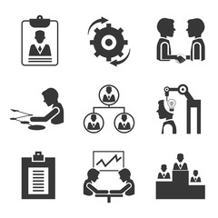business management icons, meeting icons
