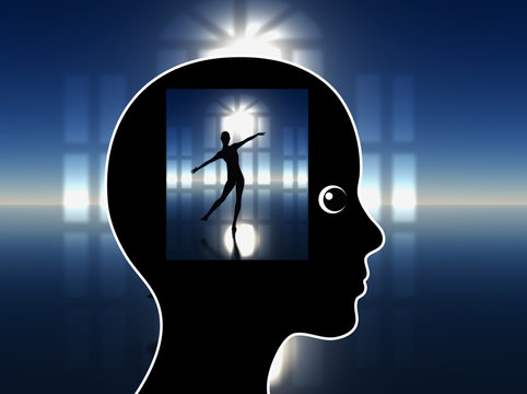 Lucid Dreaming. Woman is visualizing her artistic performance to overcome her jitters
