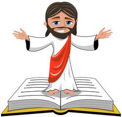 Jesus opens his hands standing on bible or gospel book isolated