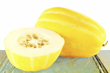 yellow melon or yellow korean melon in white background