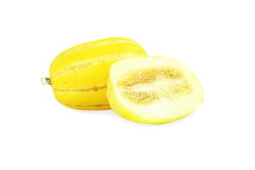 yellow melon or yellow korean melon in white background