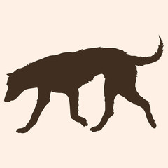 Vector Single Silhouette of Dog
