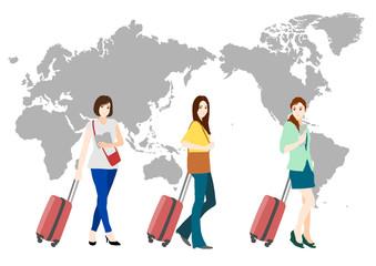 旅行 女性 世界地図(日本中心)