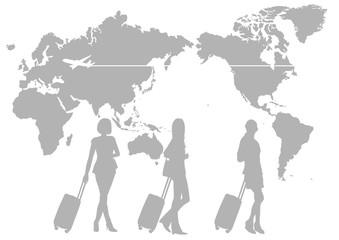 旅行 女性 シルエット 世界地図(日本中心)