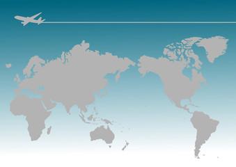 飛行機 世界地図(日本中心)